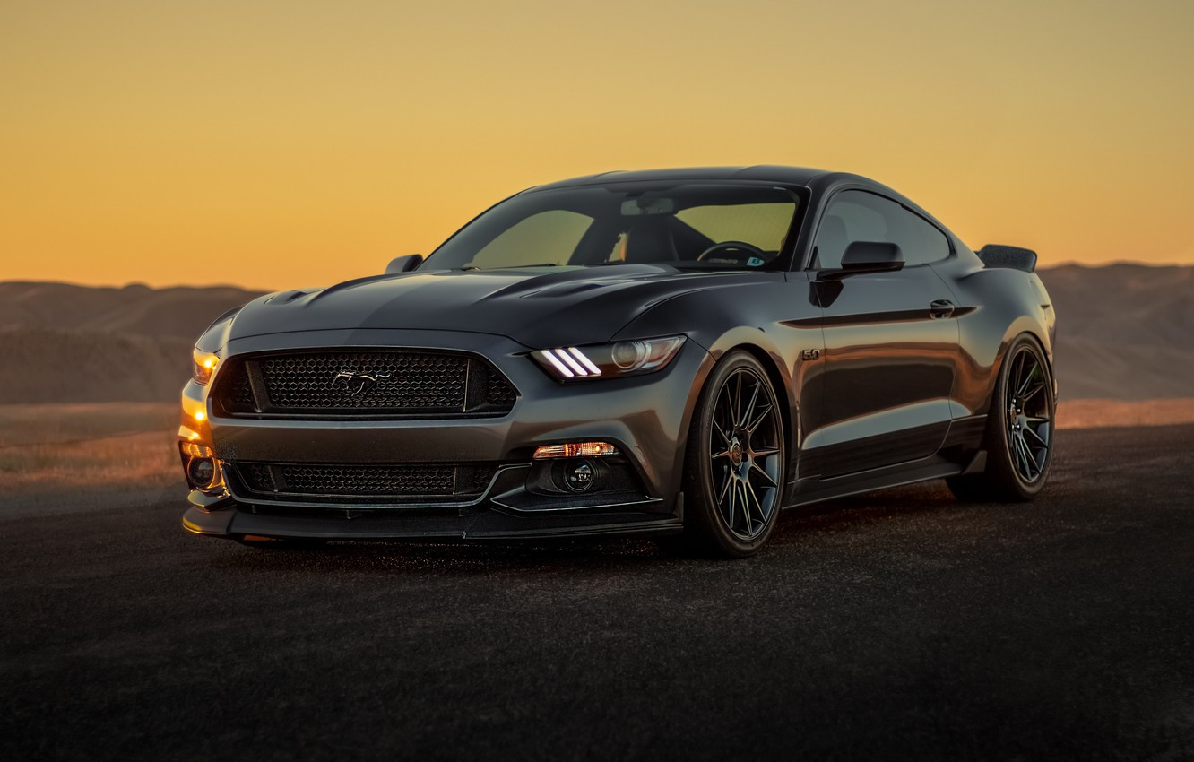Photo wallpaper Mustang, Ford, black, muscle car