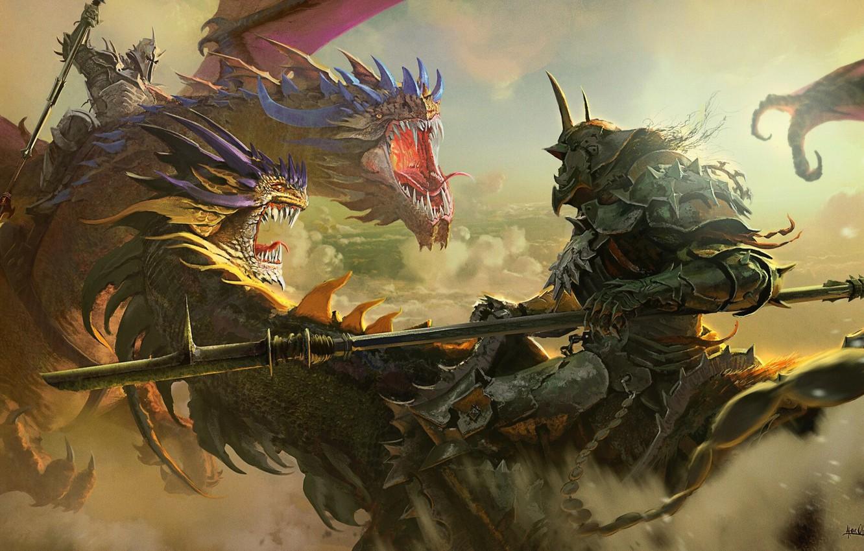 Photo wallpaper dragons, mouth, battle, the battle, knights, peaks, the fight, helmet. horns, shoulders, Alejandro Olmedo, despeje