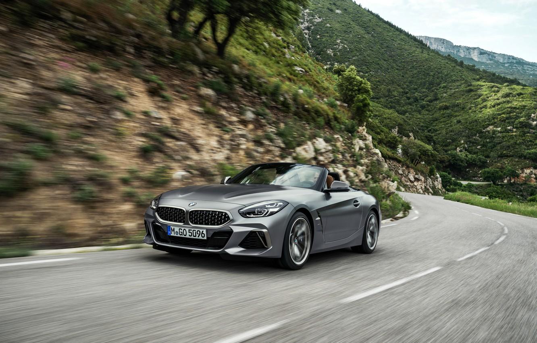 Wallpaper grey, movement, BMW, Roadster, mountain road ...