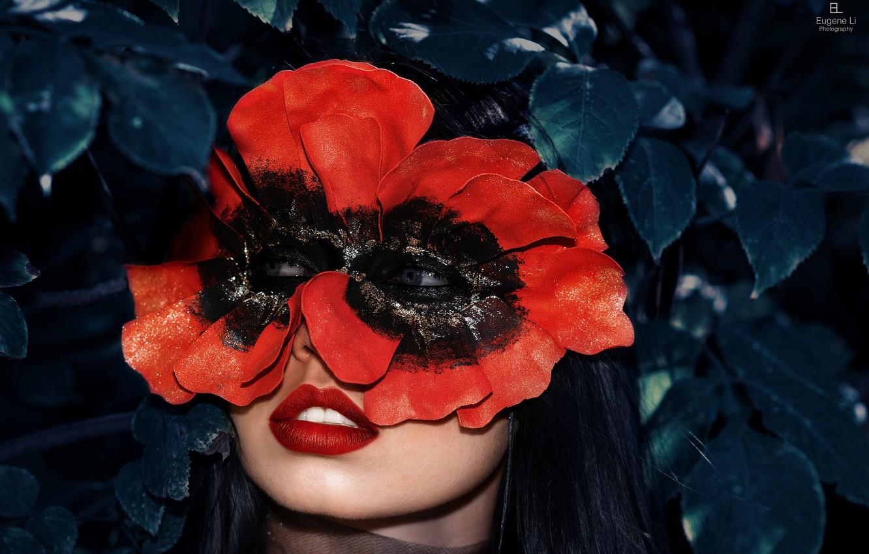 Photo wallpaper girl, background, mask