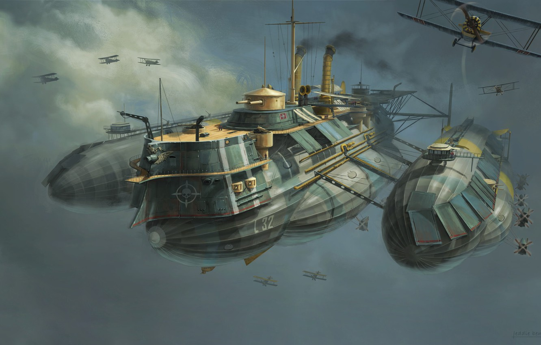 Photo wallpaper Figure, Aircraft, The ship, Art, Art, Fiction, Concept Art, WW1, Aircraft, Eddie Bennun, Ilustration, Flying …