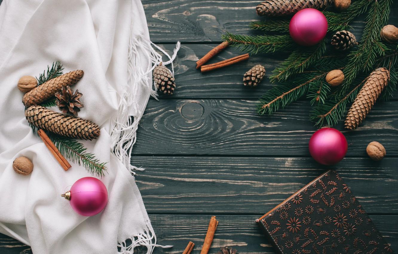 Photo wallpaper decoration, balls, New Year, Christmas, Christmas, balls, bumps, wood, New Year, decoration, Merry