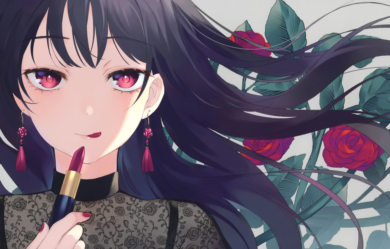 Photo wallpaper look, girl, flowers, face, roses, tongue, lipstick, red roses