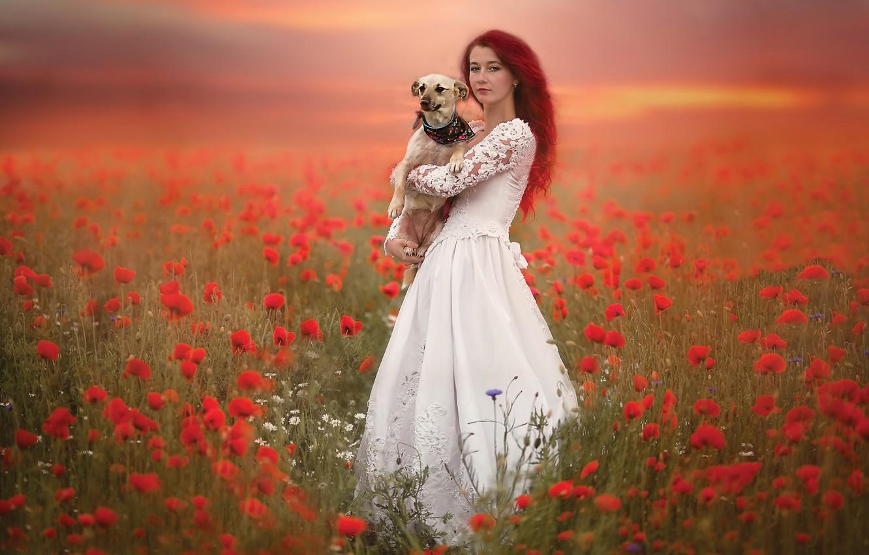Photo wallpaper girl, Maki, dog