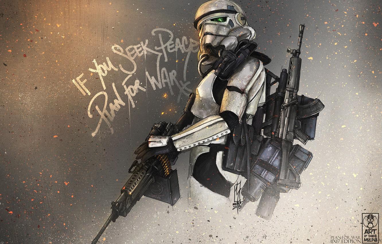 Photo wallpaper Figure, Art, Star Wars, Fanart, Stormtrooper, StarWars, by Shane Molina, Shane Molina, Plan For War, …