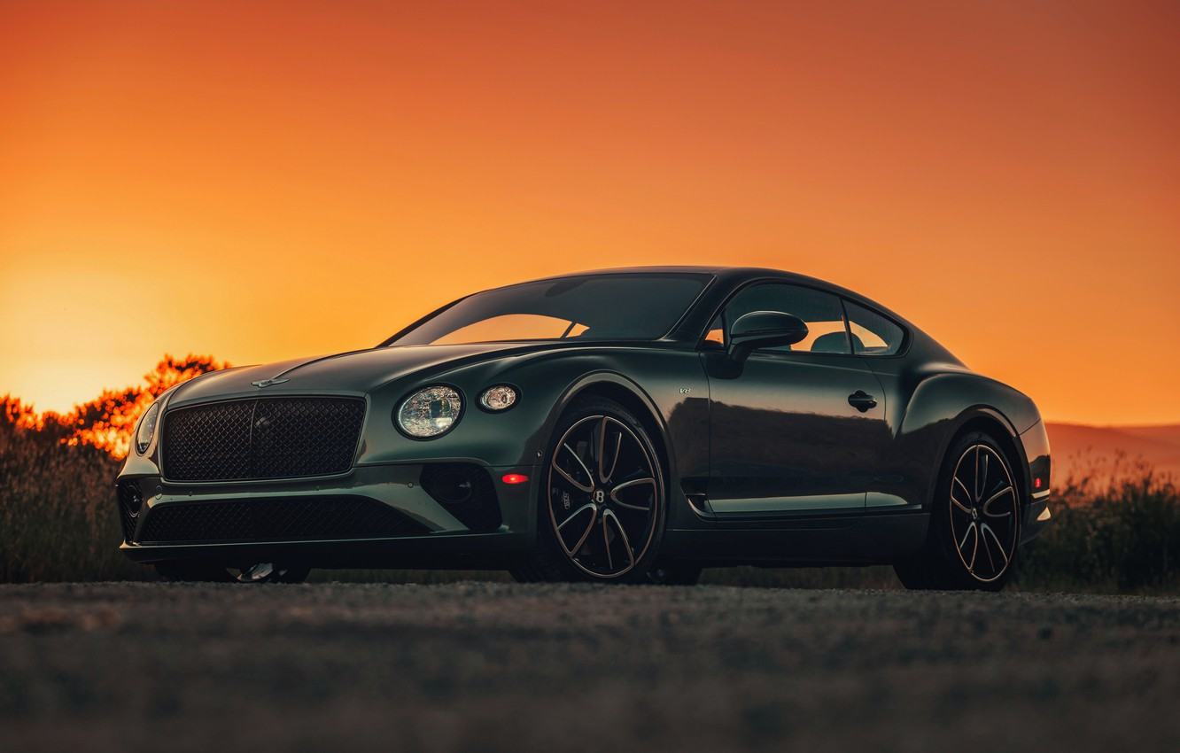 Photo wallpaper sunset, coupe, Bentley, the evening, 2019, Continental GT V8