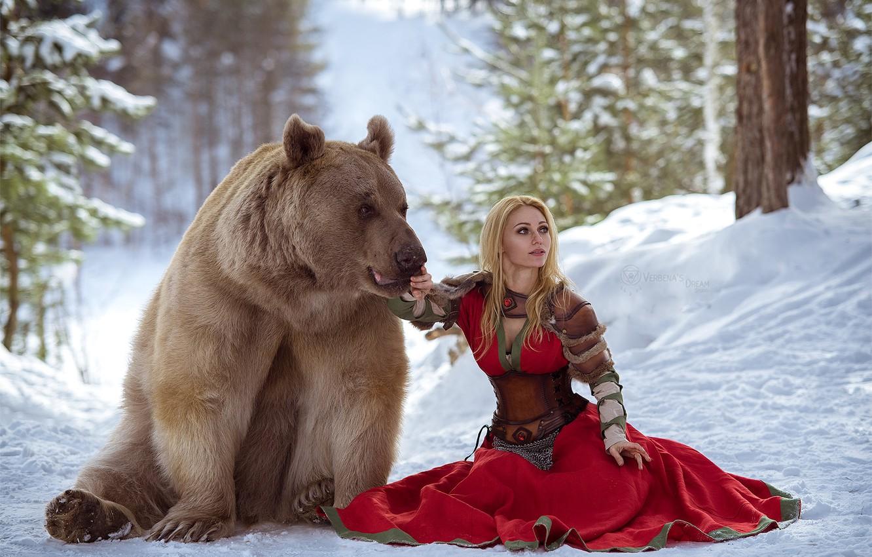 Photo wallpaper winter, forest, photo, bear, Bear, Russia, Dasha