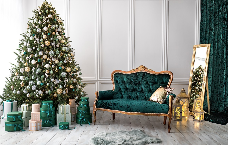 Photo wallpaper sofa, tree, interior, House, mirror, Star, Christmas, gifts, New year, Tree, Фотостудия Artroom