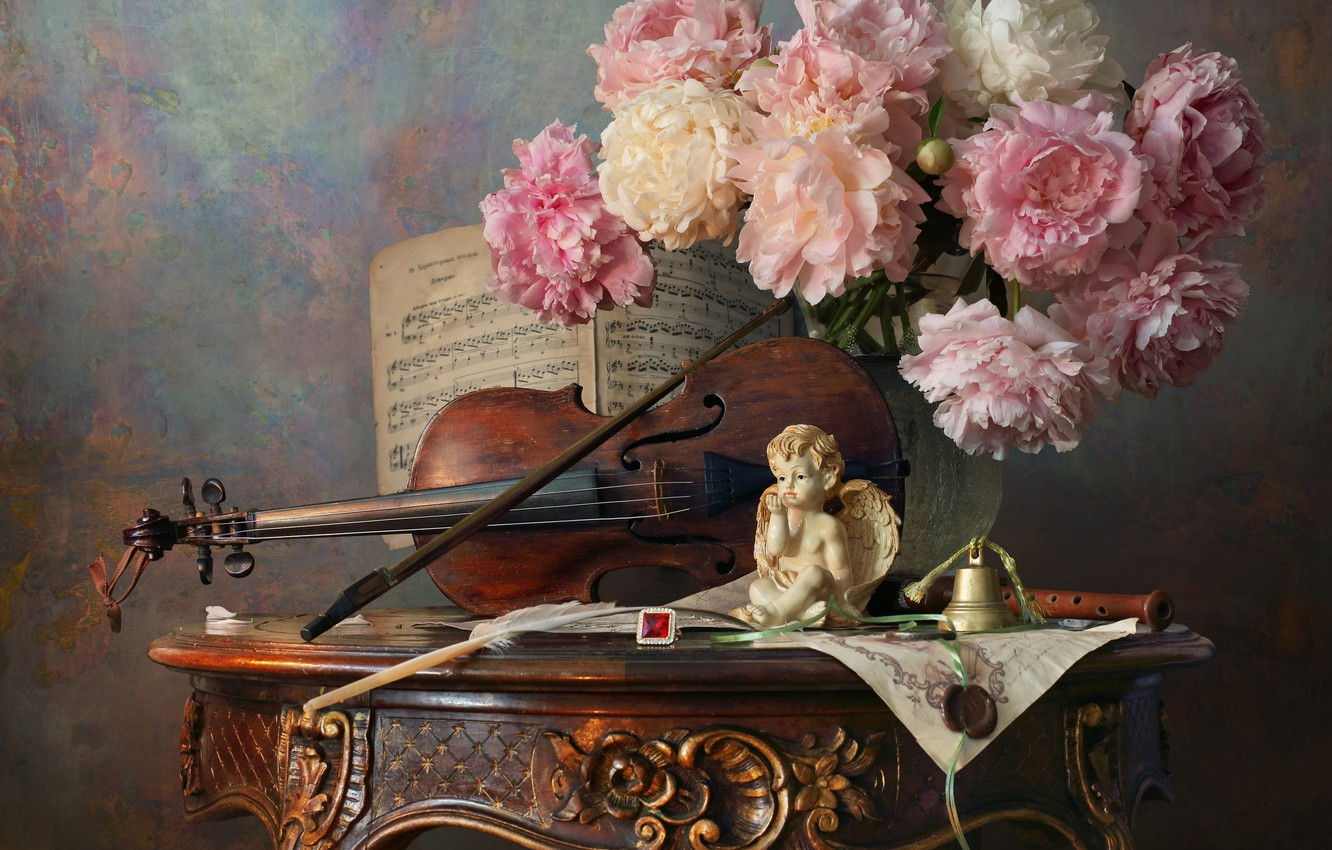 Photo wallpaper flowers, style, notes, violin, bouquet, figurine, still life, bell, bow, peonies, angel, Andrey Morozov