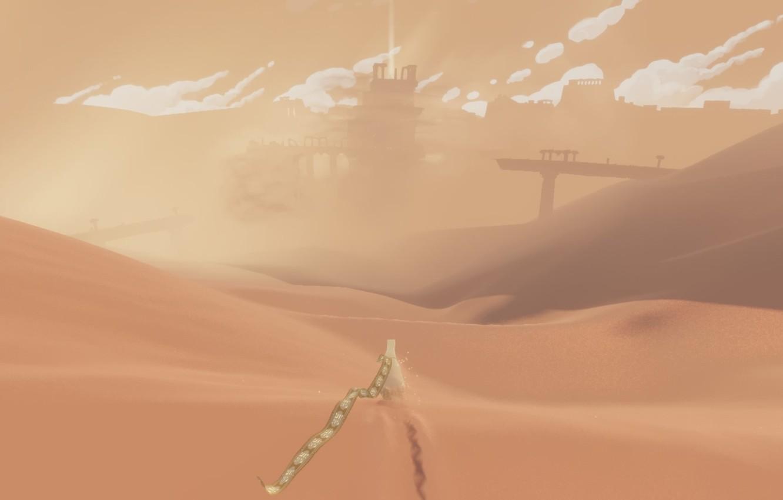 Photo wallpaper clouds, landscape, desert, dunes, Journey, Journey