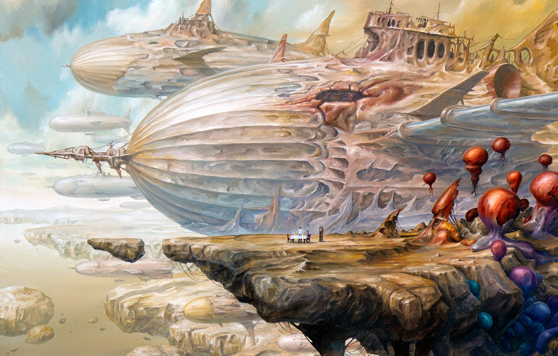 Wallpaper Dream Girl Fantasy Airship Sky Flying Woman