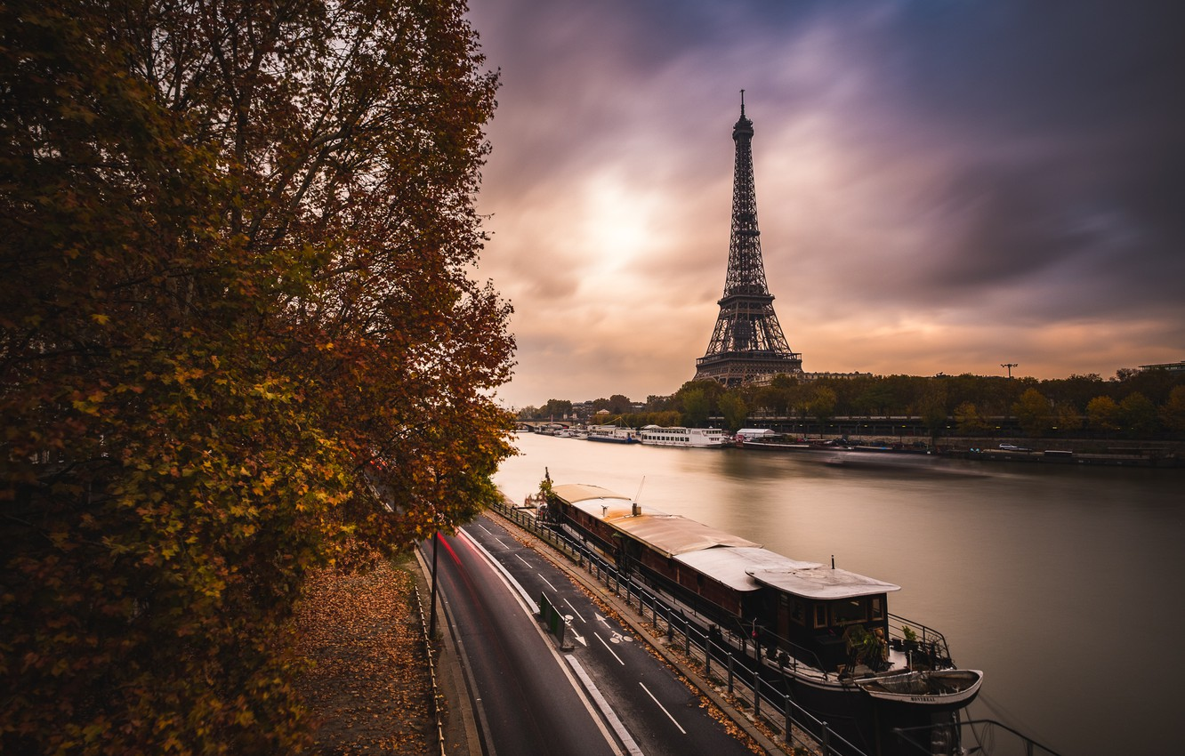 Photo wallpaper road, autumn, clouds, the city, river, France, Paris, the evening, Hay, Eiffel tower