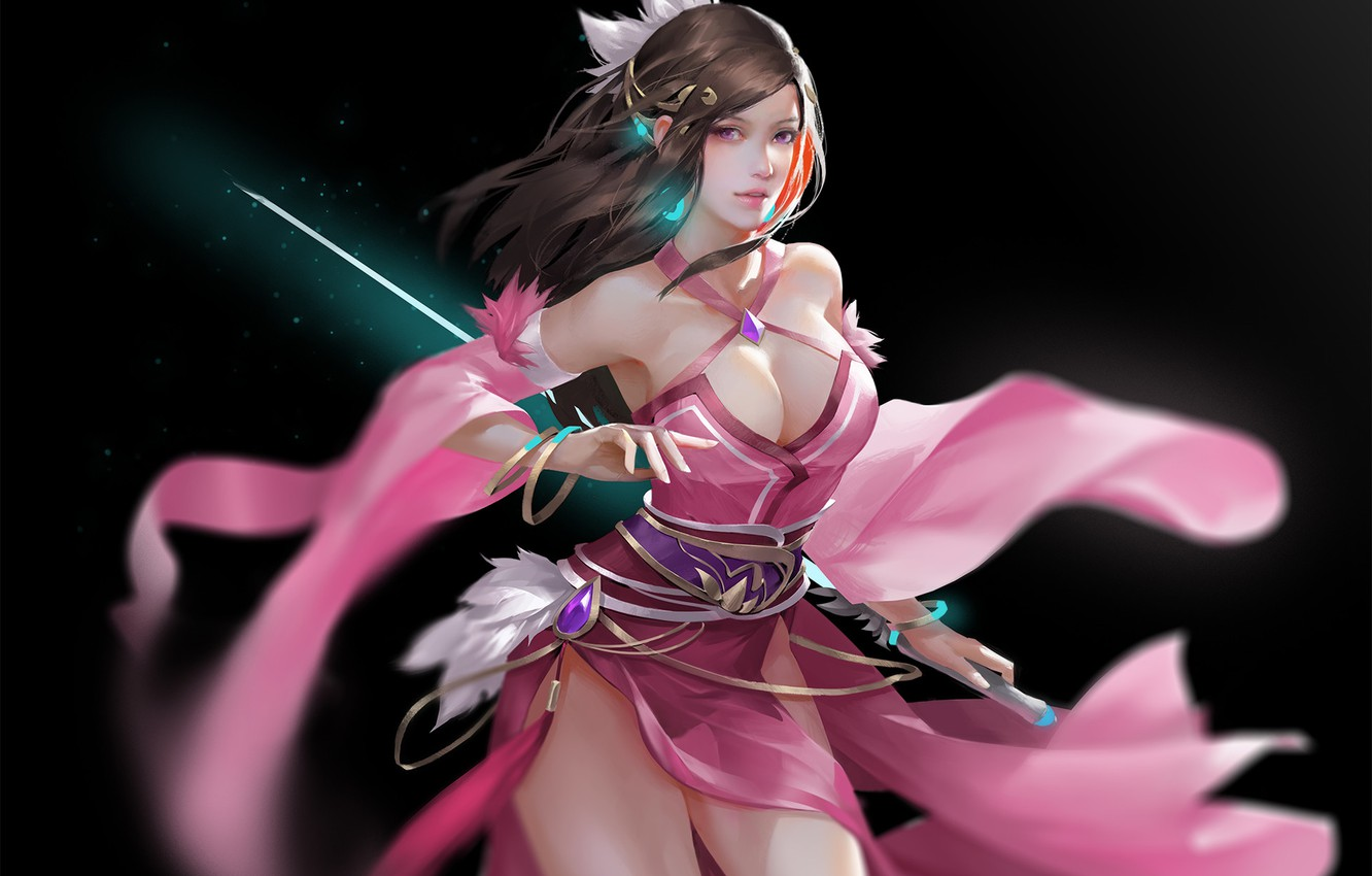 Photo wallpaper Girl, Chest, Look, Girl, Sword, Art, Art, Breast, Beauty, Beautiful, Sword, Look, Chest, Artist, Artist, …