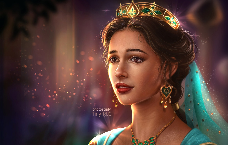 Wallpaper Look Girl Crown Princess Jasmine Naomi Scott