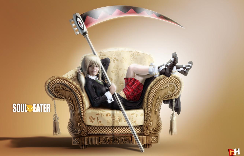Photo wallpaper girl, sofa, girl, braid, Soul eater, Soul Eater