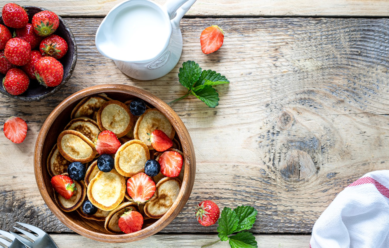 Photo wallpaper berries, strawberry, pancakes, sour cream, blueberries