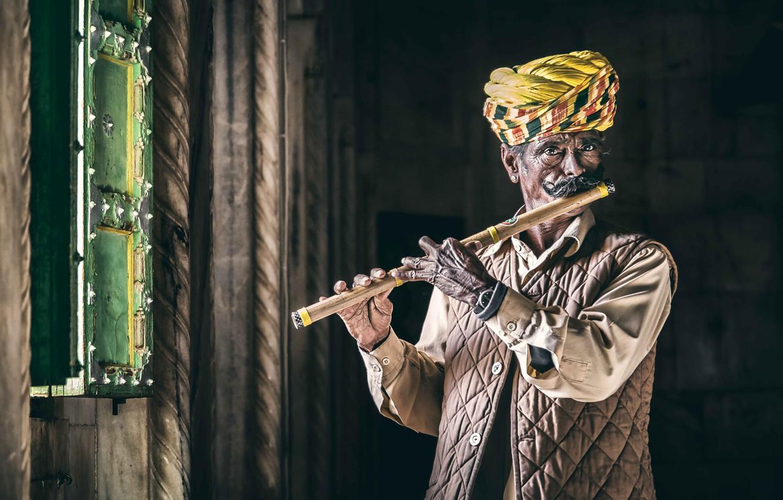 Photo wallpaper Portrait, India, Rajasthan, Jodhpur, flautist