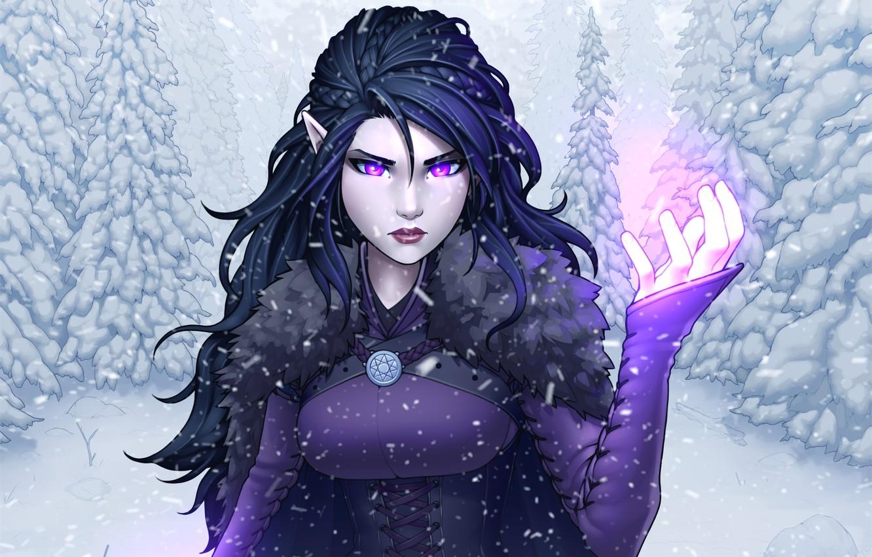 Photo wallpaper winter, forest, girl, fire, magic, hair, tree, ears, palm, snow elf
