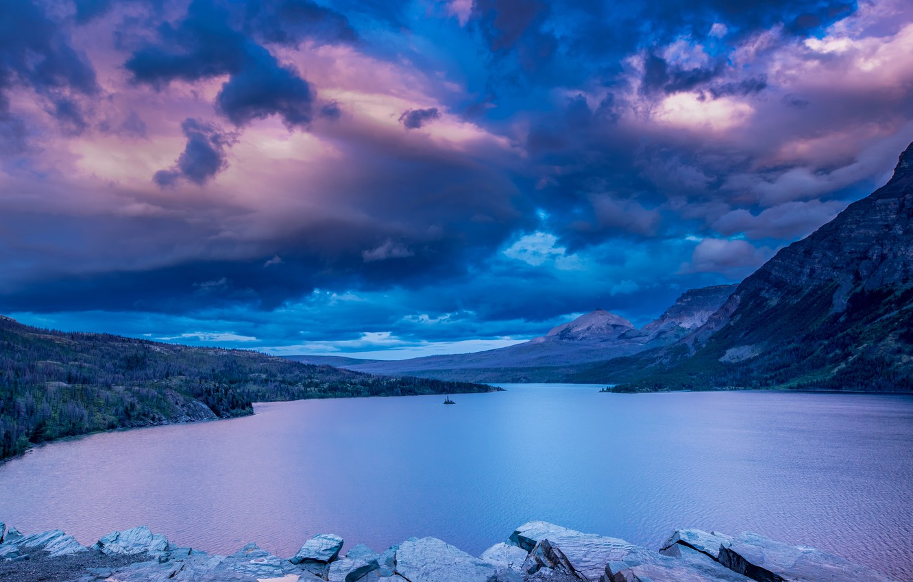 Wallpaper The Sky Clouds Mountains Lake Montana Glacier