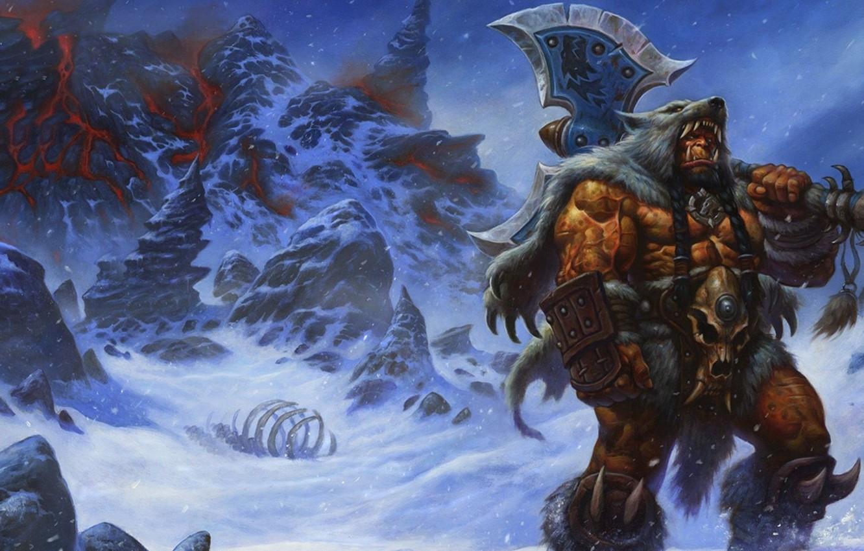 Photo wallpaper snow, mountains, axe, Warcraft, Orc, Durotan, wolfskin