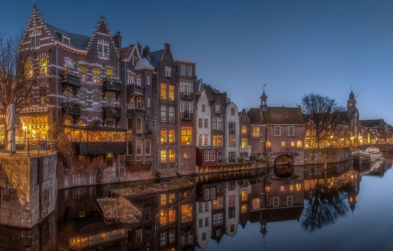 Photo wallpaper the city, reflection, home, the evening, lighting, channel, Netherlands, Holland, Rotterdam