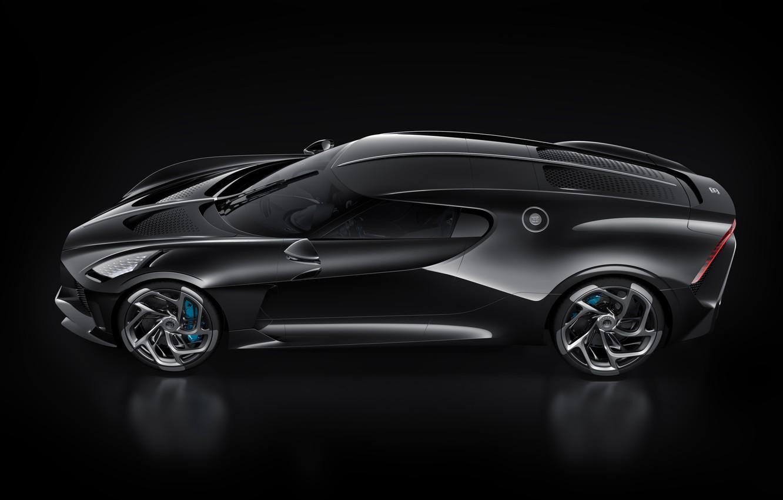 Photo wallpaper machine, black, Bugatti, stylish, hypercar, The Black Car