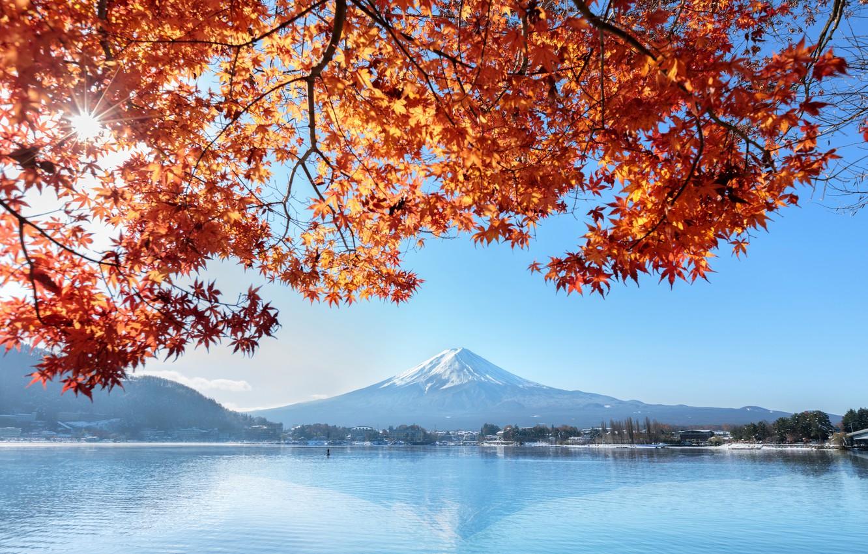 Photo wallpaper autumn, the sky, leaves, colorful, Japan, Japan, red, maple, mount Fuji, landscape, autumn, leaves, autumn, …
