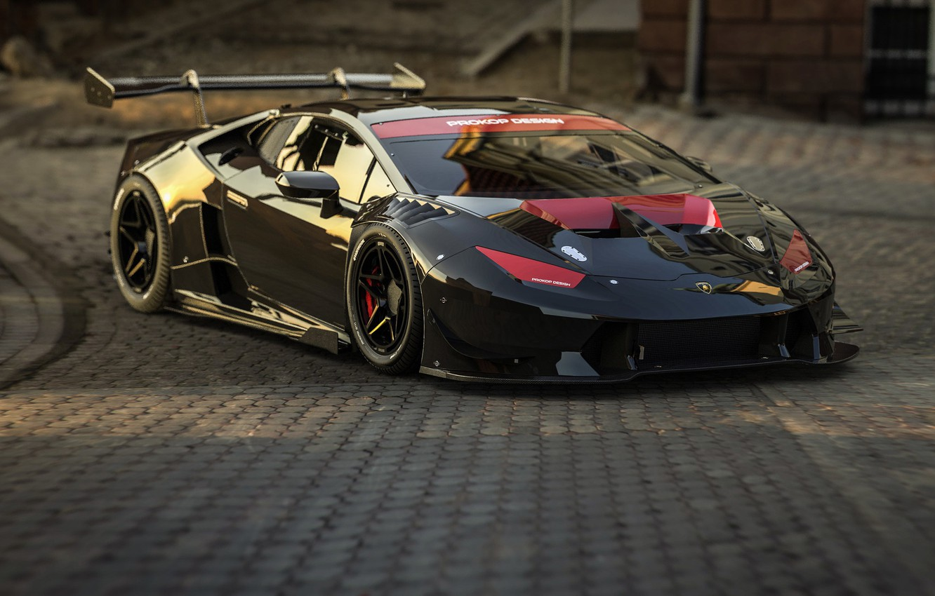 Wallpaper Black Lamborghini Machine Art Supercar