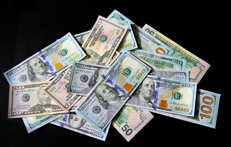 Photo wallpaper Black background, USA, Bills, Money, Benjamin Franklin, Benjamin Franklin, Dollar, Dollar, Dollars, 100, Сто