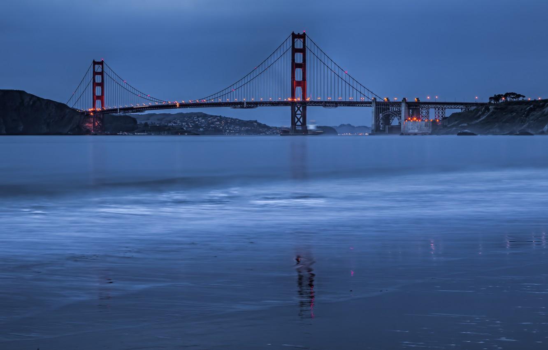 Photo wallpaper sea, bridge, lights, Strait, coast, the evening, Golden Gate Bridge, San Francisco, China Beach