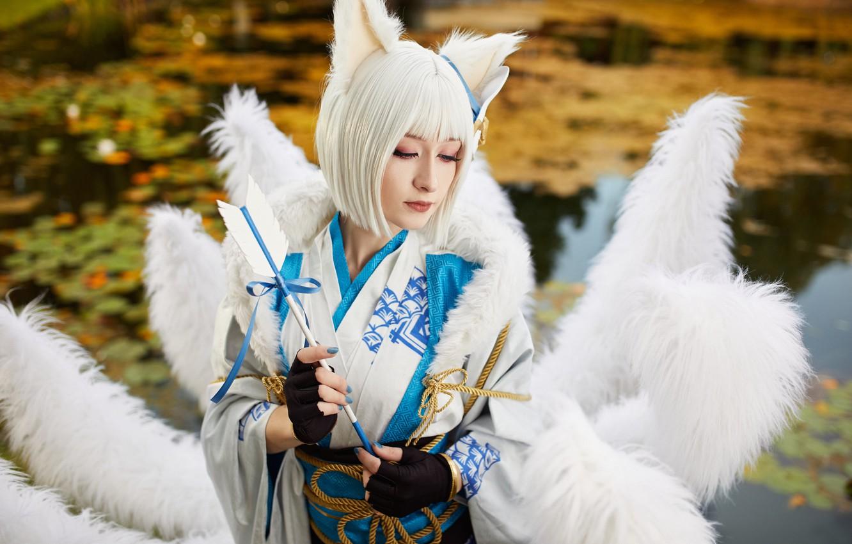 Photo wallpaper girl, Fox, tail, kimono, Fox, cosplay, Kaga, Azur Lane