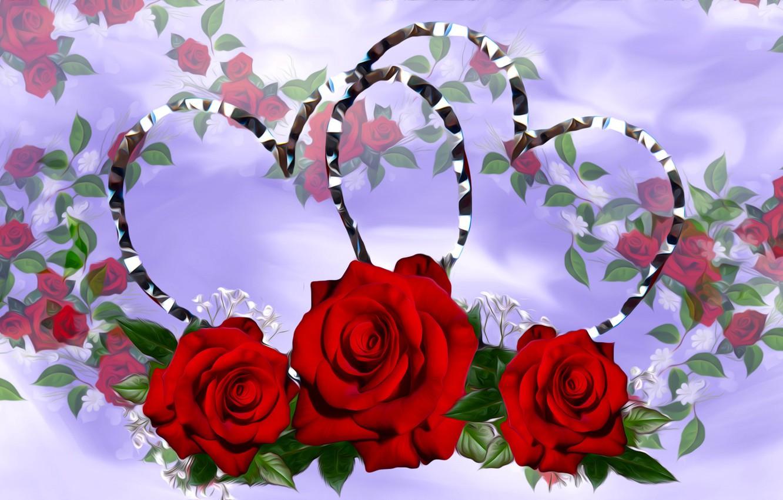 Photo wallpaper Flowers, Roses, Serce
