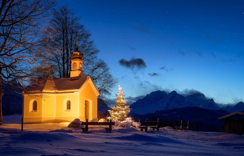 Photo wallpaper winter, snow, landscape, mountains, night, nature, Germany, lighting, Christmas, Church, tree, Garmisch-Partenkirchen, Garmisch-Partenkirchen