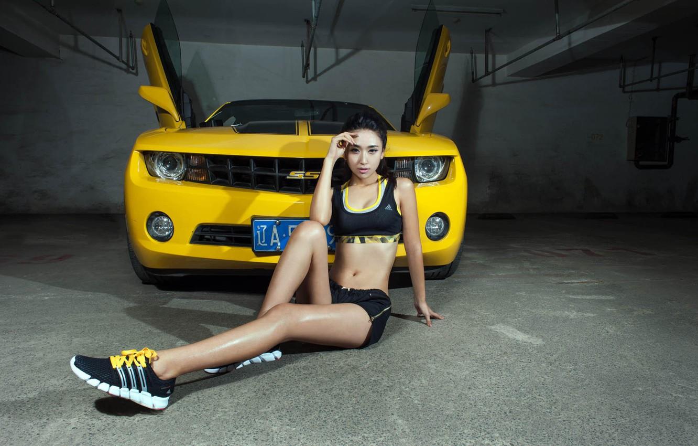 Photo wallpaper look, Girls, Chevrolet, Asian, beautiful girl, yellow car, posing on the car