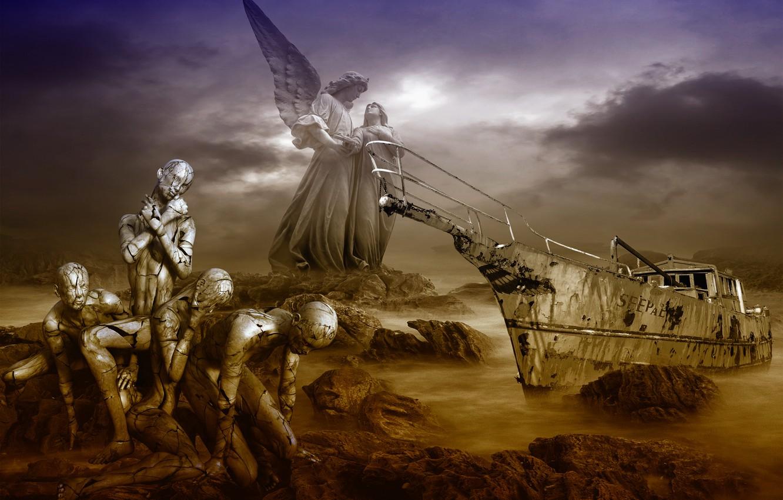 Photo wallpaper sea, the darkness, destiny, hopelessness, shipwreck, perishing people, the tragedy, doom, torment