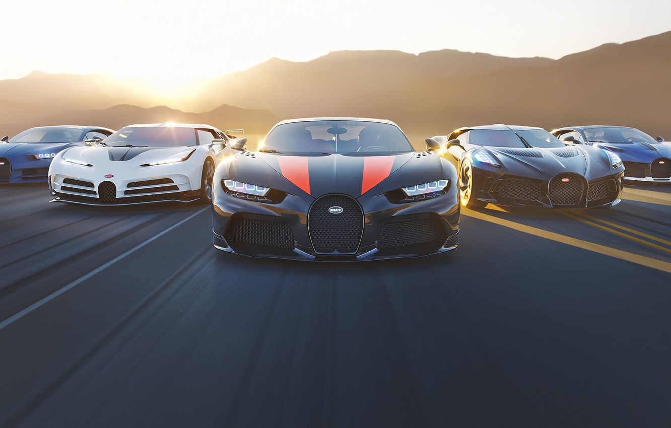 Photo wallpaper sunset, rendering, speed, Bugatti, supercars, hypercar, Chiron, Divo, The Black Car, One hundred and ten, …