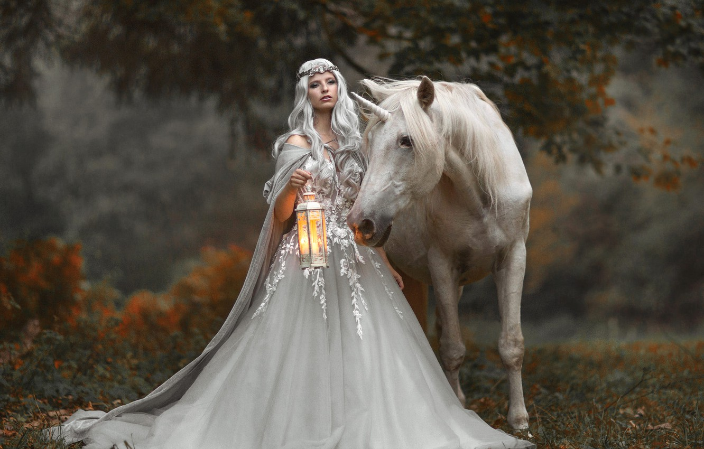 Photo wallpaper autumn, girl, style, horse, horse, fantasy, unicorn, lantern, Princess, Marketa Novak