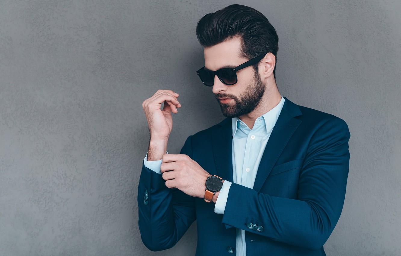 Photo wallpaper style, background, wall, watch, glasses, hairstyle, costume, male, shirt, beard, guy, jacket