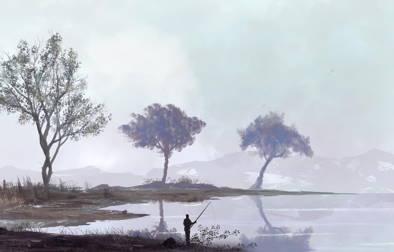 Photo wallpaper Figure, Lake, River, People, Landscape, Art, Landscapes, Digital Art, Fishing, TacoSauceNinja, by TacoSauceNinja, Fishing Spot