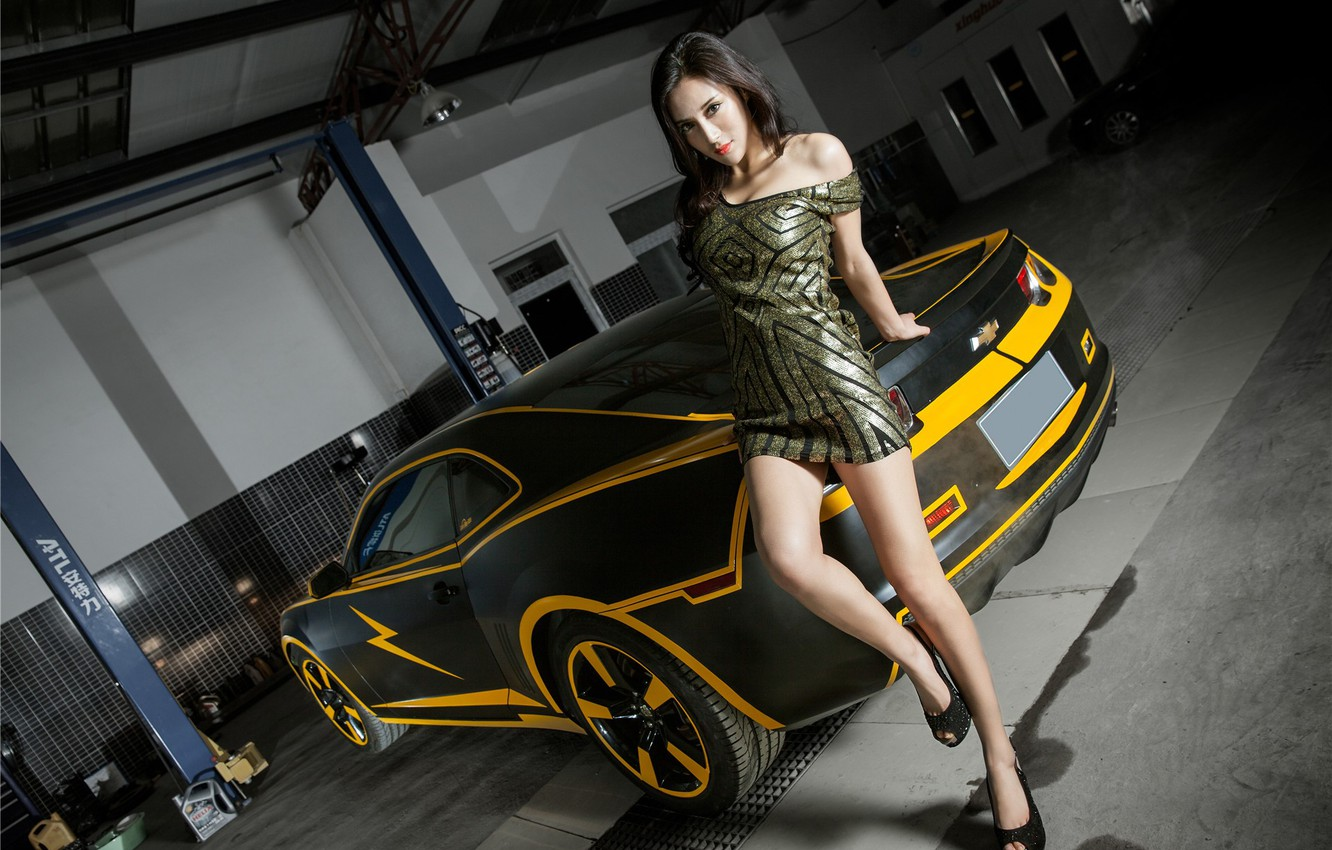 Photo wallpaper auto, look, Girls, Chevrolet, Asian, beautiful girl, posing on the car
