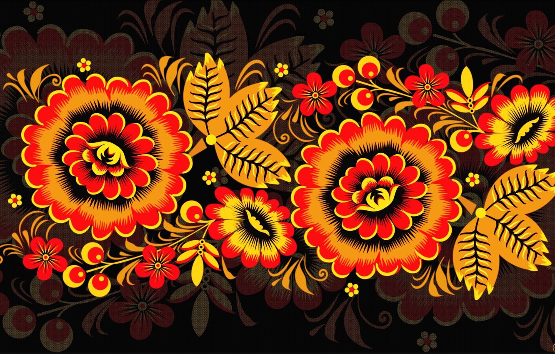 Photo wallpaper Flowers, Pattern, Style, Background, Painting, Art, Khokhloma, Khokhloma painting, madeinkipish, Ivan Ivanovich, Russian painting