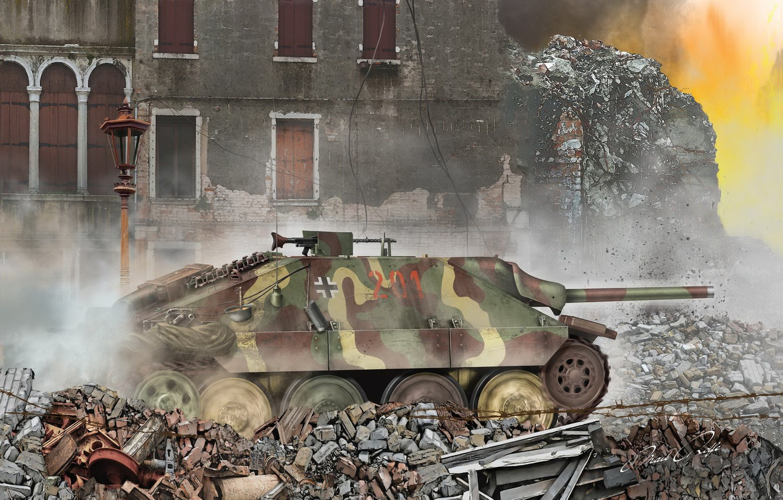 Photo wallpaper Ruins, SAU, Tank fighter, Hetzer, Jagdpanzer 38(t)