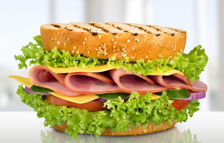 Photo wallpaper cheese, sandwich, salad, toast, ham