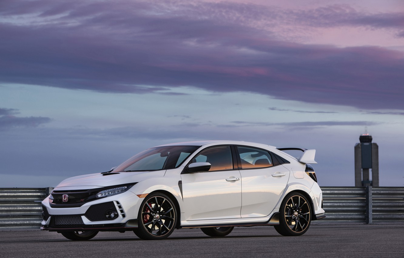 Photo wallpaper white, clouds, the fence, Honda, hatchback, the five-door, 2019, Civic Type R, 5th gen, FK8