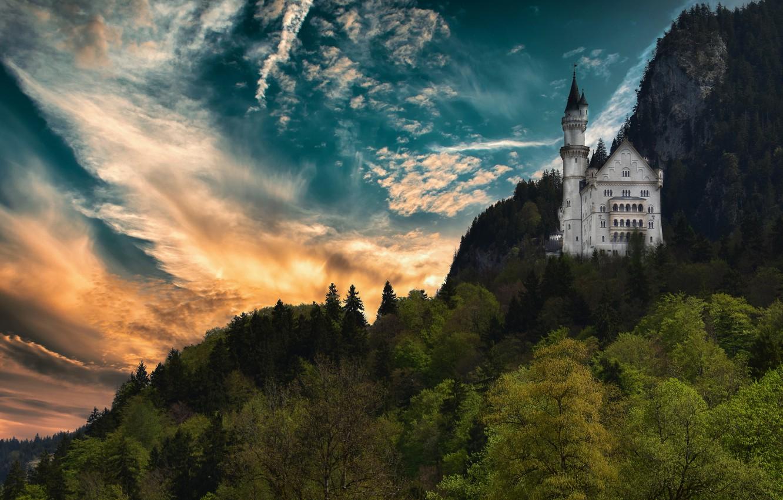 Photo wallpaper forest, castle, rocks, height, Germany, Neuschwanstein