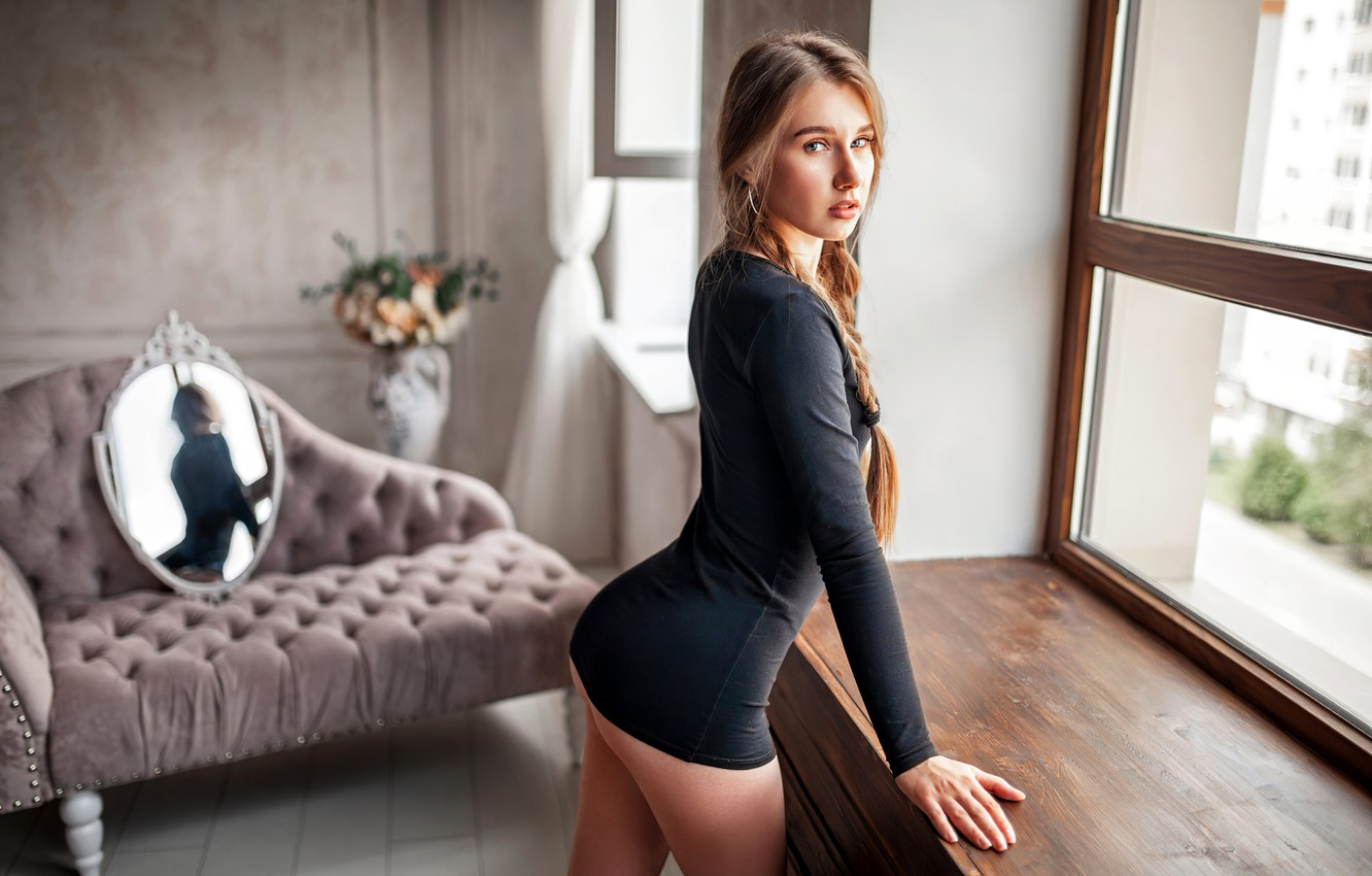 Photo wallpaper look, pose, reflection, room, sofa, model, portrait, interior, makeup, figure, mirror, hairstyle, brown hair, is, …