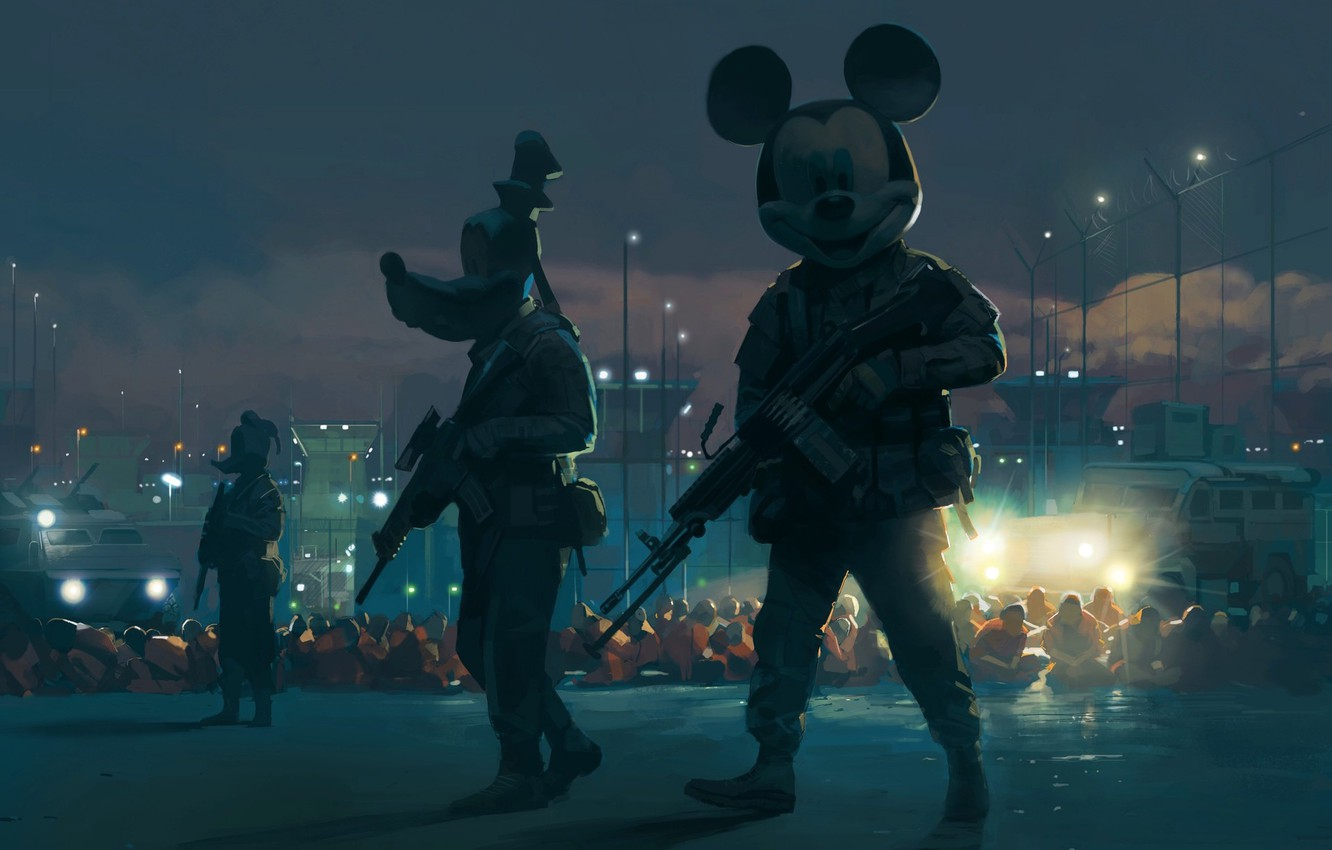 Photo wallpaper Weapons, Art, Mickey Mouse, Mickey Mouse, Mickey, Illustration, Goofy, Goofy, Donald Duck, Donald Duck, The …