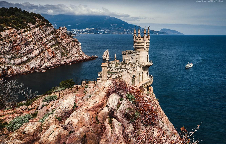Photo wallpaper sea, castle, rocks, Crimea, ship, Swallow's nest, RUSSIA, The black sea, Alex Lett, Avrorina rock