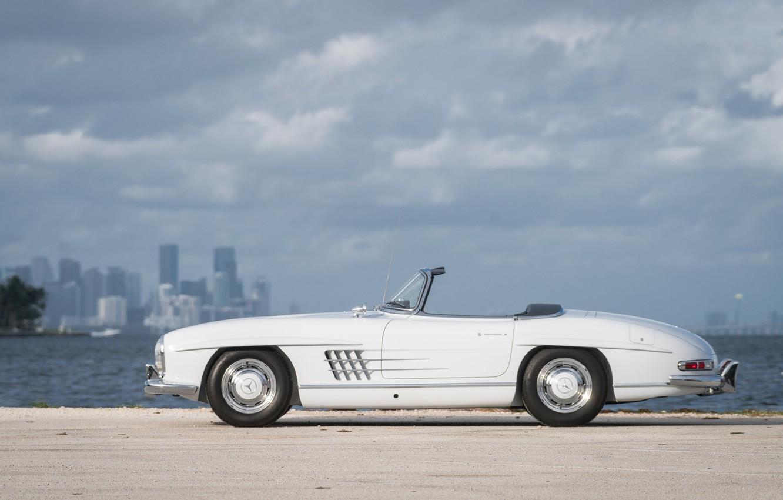 Photo wallpaper White, Retro, 1959 Mercedes-Benz 300 SL Roadster