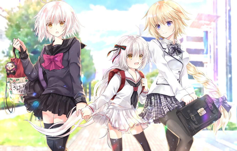 Photo wallpaper girls, school uniform, Fate / Grand Order, The destiny of a great campaign